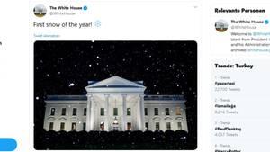 Der Tweet aus dem Weißen Haus zeigt den Amtssitz von Präsident Donald Trump bei leichtem Schneefall
