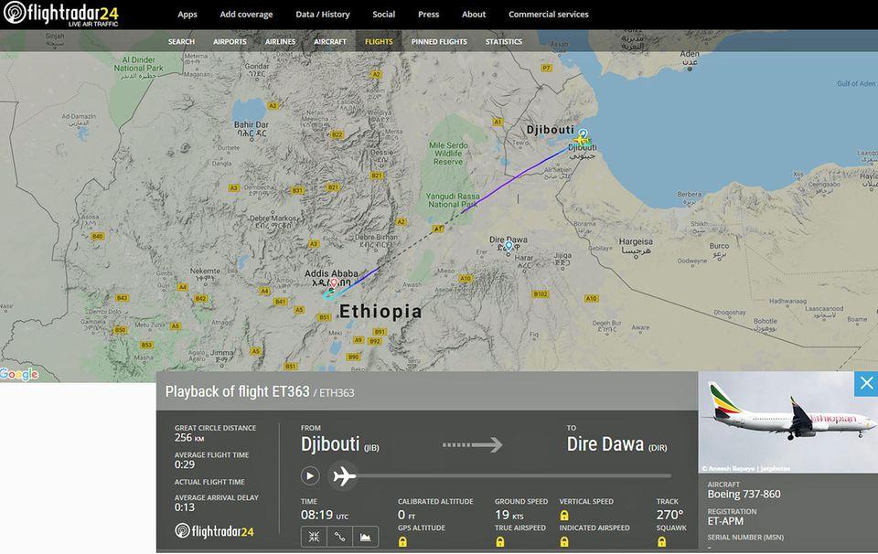 Die Route des Fluges vonEthiopian Airlines 363: Von Dschibuti, Somalia nach Addis Abeba in Äthopien. Doch am 8. Januar musste der Zwischenstopp inDire Dawa in Ostäthiopien entfallen.
