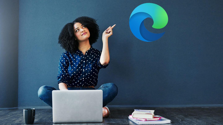 Frau am Laptop, Microsoft Logo
