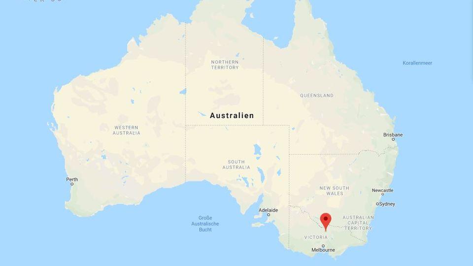 Der Ort Murchison au der Karte Australiens