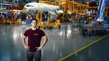 Marlon Daras im Airbuswerk