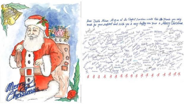 Mit dieser Weihnachtskarte haben sich Schüler des Project Sunshine für die Spenden der stern-Leser bedankt