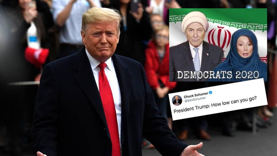 Donald Trump retweetet ein Bild von Nancy Pelosi und Chuck Schumer in traditioneller muslimischer Kleidung.
