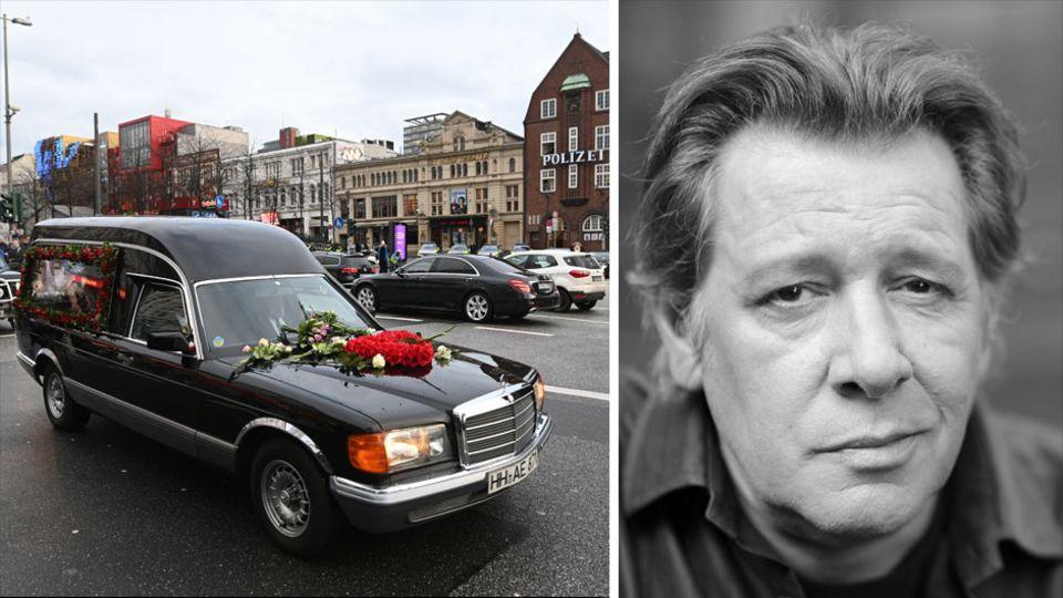 Trauerkonvoi für Jan Fedder in Hamburg; Porträt von Jan Fedder