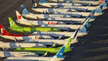 Auf dem Airport Moses Lake in US-Bundesstaat Washington eingeparkte Jets vom Typ Boeing 737 Max