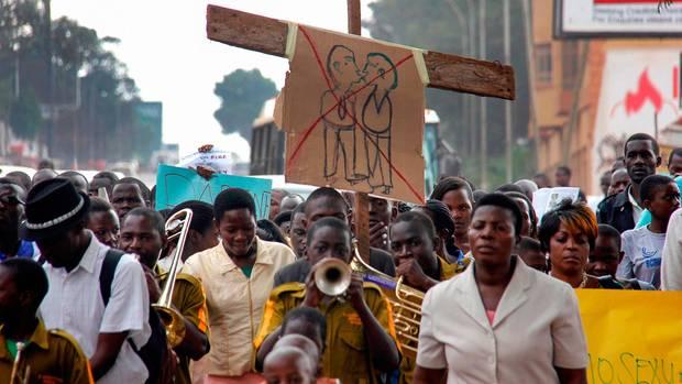 Anti-LGBTQI-Proteste in Ugandas Hauptstadt Kampala im August 2014