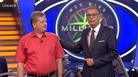 """""""Wer wird Millionär""""-Moderator Günther Jauch (rechts) und Kandidat Joachim Lauterbach."""