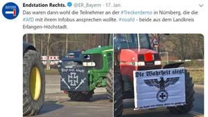 Rechte Plakate auf Traktoren während der Bauern-Demo in Nürnberg