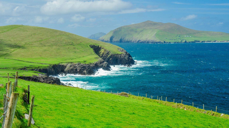 Irische Küste mit rauem, blauen Wasser und grünen Wiesen