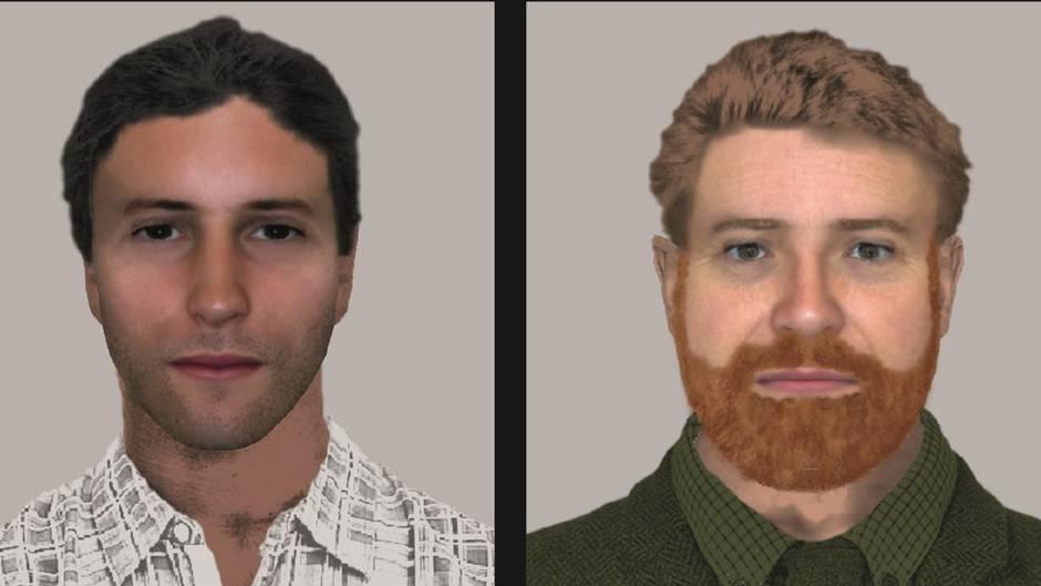 Ein Phantombild zeigt zwei junge Männer: links einen mit braunem Seitenscheitel, rechts einen mit rotblondem Vollbart