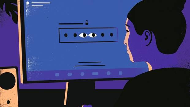 Illustration: Ein Augenpaar blickt aus dem PC-Bildschirm in Richtung einer Nutzerin