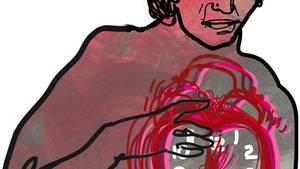 Illustration einer Frau mit einem herzförmigen Wecker vor der Brust