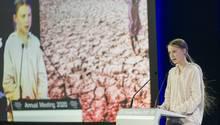 Greta Thunberg, Umweltaktivistin und Schülerin aus Schweden, spricht beim Weltwirtschaftsforum (WEF)