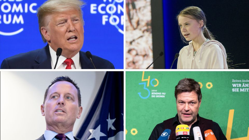 US-Präsident Donald Trump, Greta Thunberg, US-Botschafter Richard Grenell, Grünen-Chef Robert Habeck