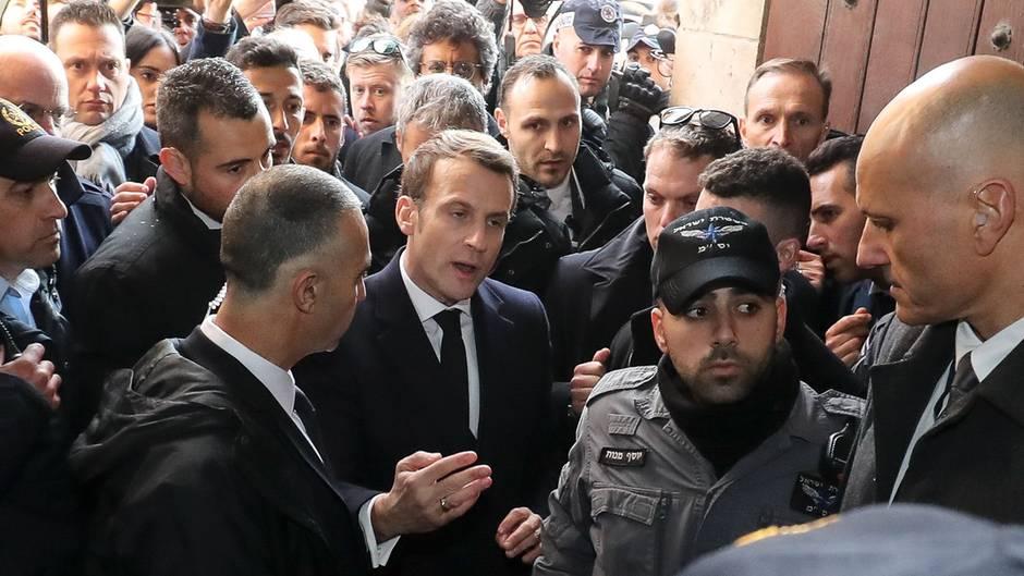 Eklat in Jerusalem: Frankreichs Präsident Macron legt sich mit israelischer Polizei an