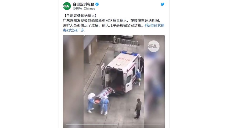 China: Virus-Patient in Plastikröhre