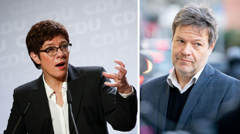 CDU-Chefin Annegret Kramp-Karrenbauer (links) kritisiert Grünen-Chef Robert Habeck wegen seiner Äußerungen zu Trump