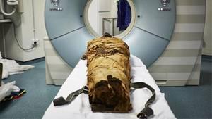 Stimme von Mumie: Mumie liegt in einem CT-Raum