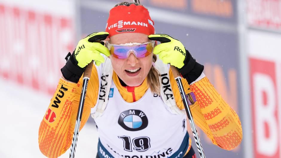 Sport kompakt: Nach vier fehlerfreien Schießeinlagen steht Denise Herrmann im Ziel