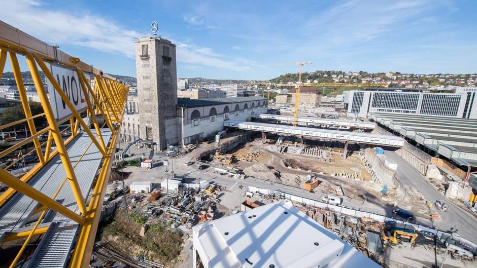 Ein Blick auf die Baustelle Stuttgart 21 im Sommer 2017