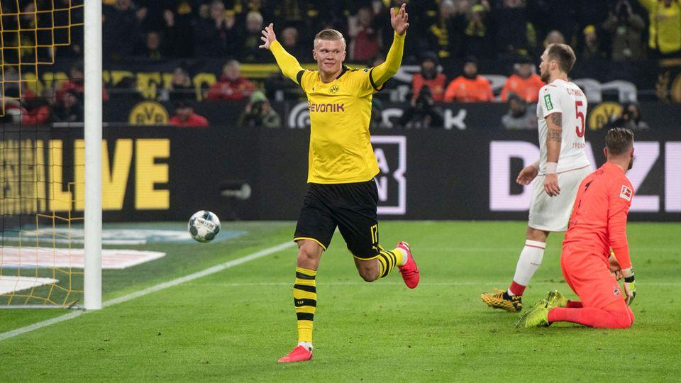 Erling Haalangerzielte gegen Köln in seinem zweiten Spiel für den BVB die Tore Nummer 4 und 5