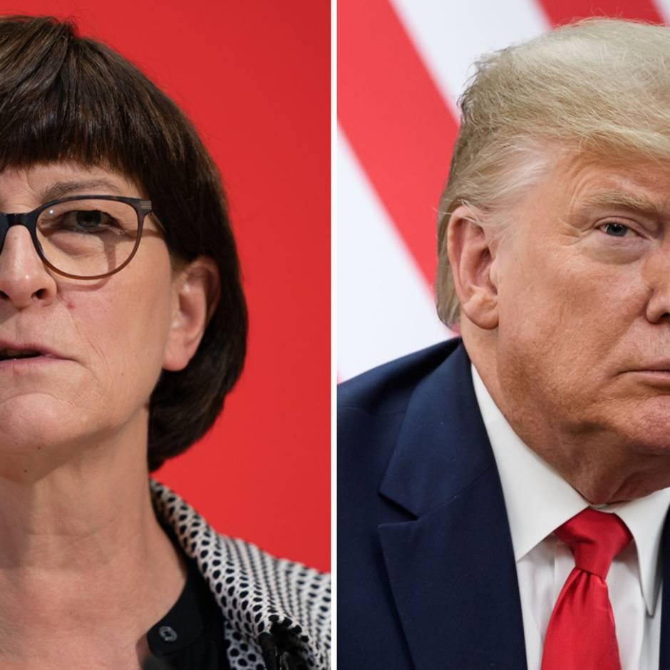 "SPD-Chefin Saskia Esken nennt Donald Trump ""erschreckend verantwortungslos"""