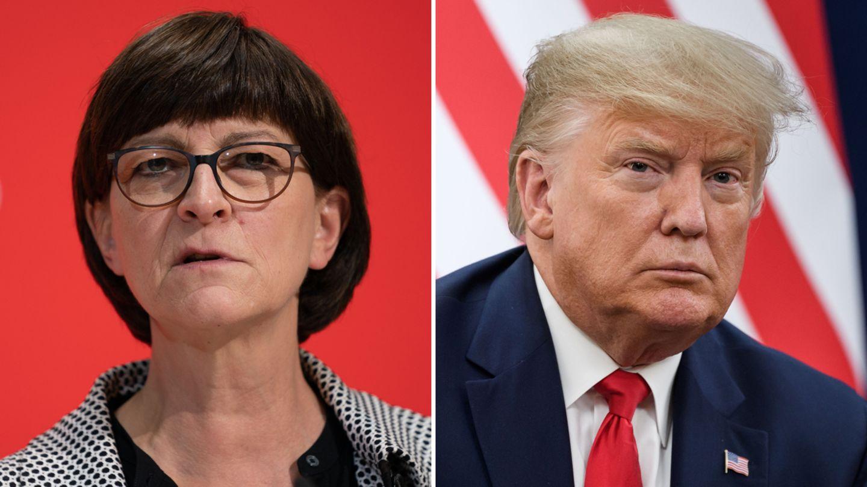 Die Bildkombo zeigt SPD-ChefinSaskia Esken und US-Präsident Donald Trump