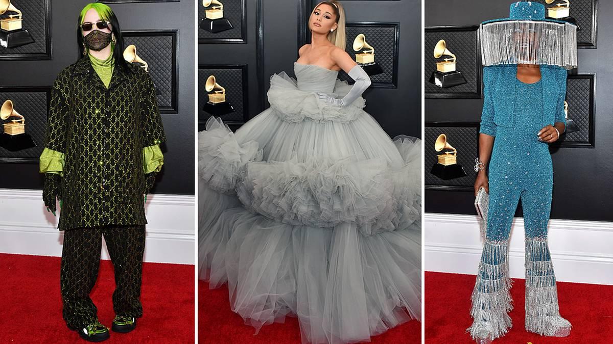 Stylewatch Grammy Awards: Mundschutz, Tüllbombe, Lampenschirm: Die auffälligsten Outfits vom roten Teppich