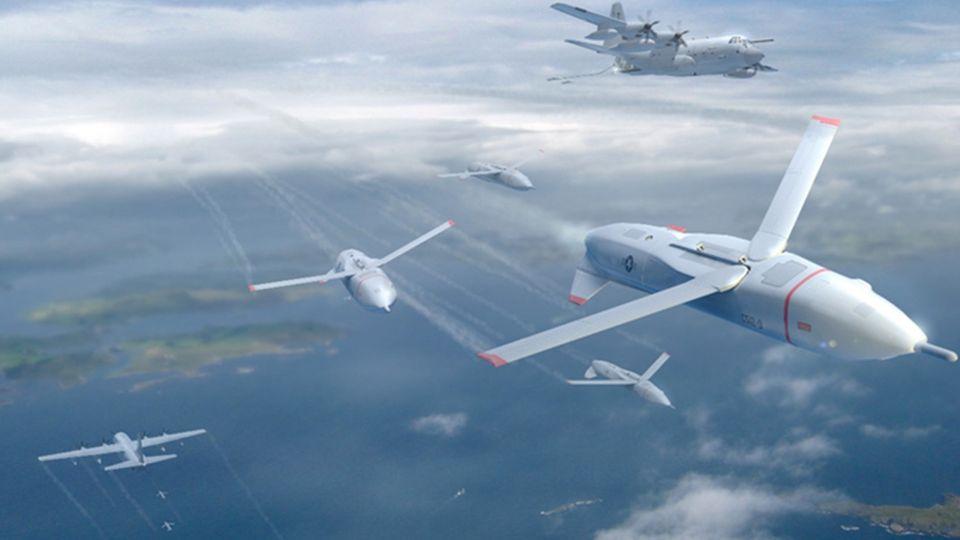 Zieldes Projektes ist es, einen ganzen Drohnenschwarm von der C-130 A aus zu starten und die Drohnen wieder an Bord zu holen.