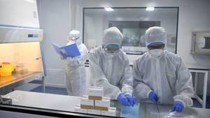Forscher verpacken Nachweisreagenzien für das neue Coronavirus. Die erste Charge mit Nachweisreagenzien für 10.000 Personen wurde kostenlos nach Wuhan geschickt