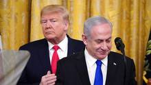 US-Präsident Donald Trump mitIsraels Ministerpräsident Benjamin Netanjahu im Weißen Haus in Washington