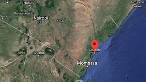 Eine Google-Karte von einem Küstenabschnitt Kenias