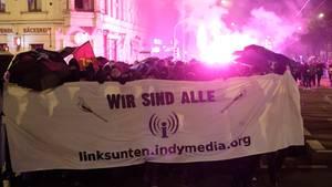 "Mehrere hundert Menschen protestierten gegen das Verbot der Plattform ""Linksunten.Indymedia"""