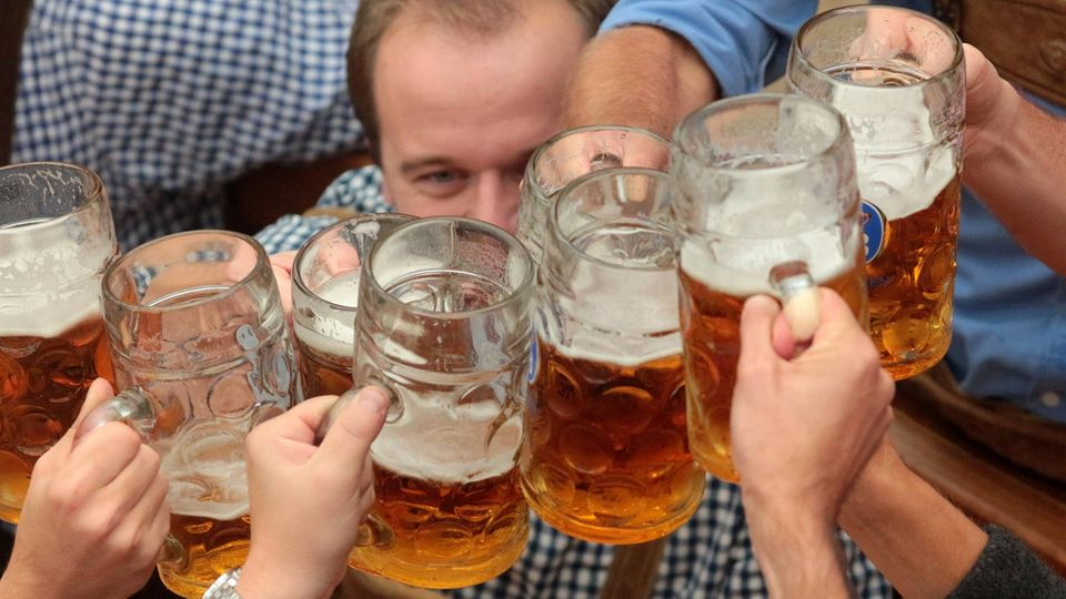 Sechs Männer stoßen auf der Münchner Wiesn mit ihren Maßkrügen an