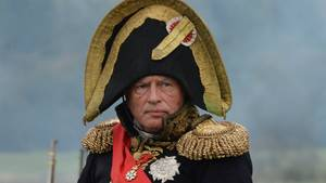 Der Historiker Oleg Sokolow als Napoleon Bonaparte bei einer historischen Rekonstrukions-Show