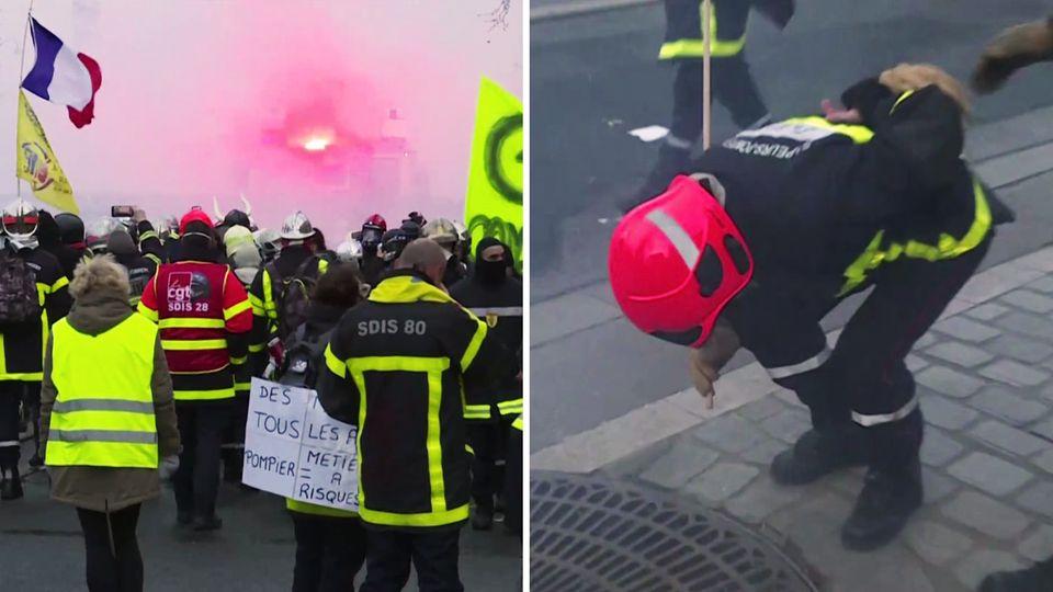 Ausschreitungen in Paris: Die Polizei geht gegen demonstrierende Feuerwehrleute vor