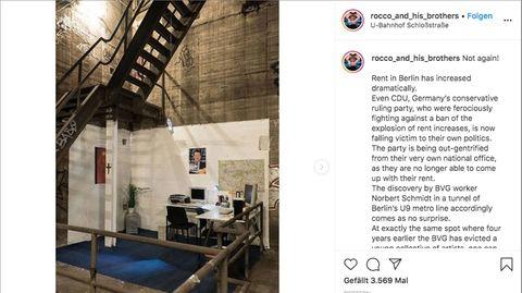 Ein Screenshot des Instagram-Posting. Blauer Teppich, Schreibtische, Computer im Tunnel neben einer Treppe