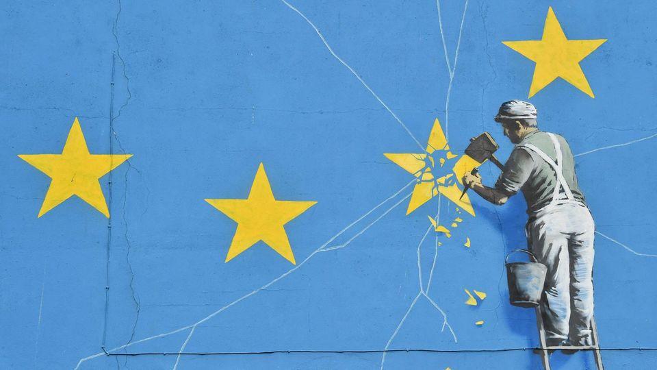 Ein Banksy-Bild zum Brexit: Am Freitag treten die Briten aus der EU aus
