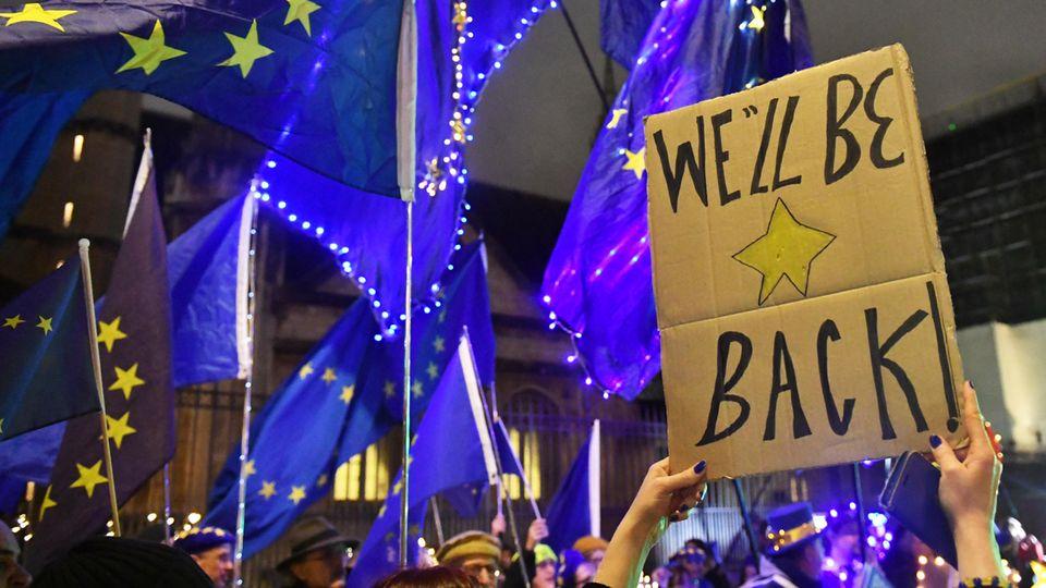 """Demonstranten protestieren vor dem britischen Parlament gegen den Brexit mit einem Schild mit der Aufschrift """"We'll be beack"""""""