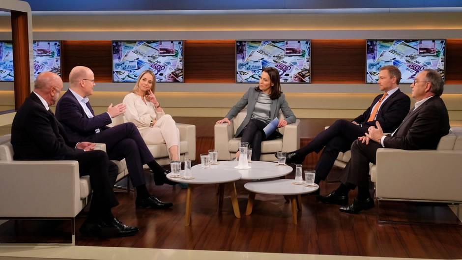 """Von links: Ulrich Schneider (Hauptgeschäftsführer des Paritätischen Gesamtverbands), Ralph Brinkhaus (CDU), Anette Dowideit (Chefreporterin Investigativteam """"Welt""""), Anne Will (Moderatorin), Christian Lindner (FDP) undNorbert Walter-Borjans (SPD)"""