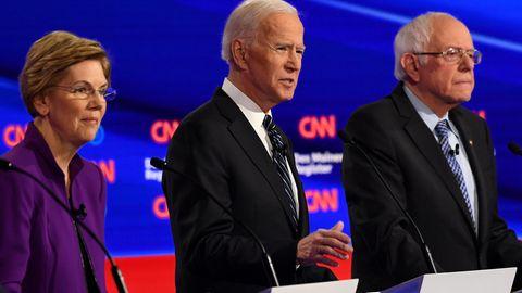 Erste Vorwahlen in Iowa: Elizabeth Warren, Joe Biden und Bernie Sanders (v.li.) gelten als aussichtsreicheKandidaten der Demokraten für die Präsidentschaftswahl.