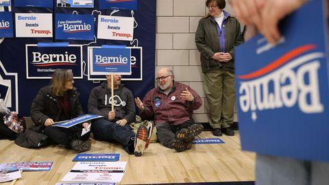 Unterstützer des Bewerbers für die Präsidentschaftskandidatur der Demokraten,Bernie Sanders