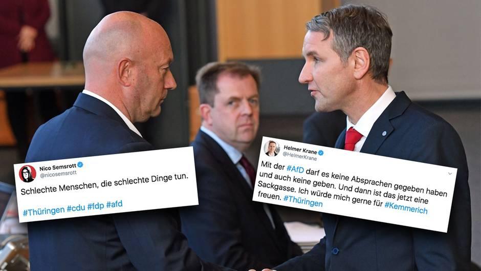 Björn Höcke, (r) Fraktionsvorsitzender der AfD, gratuliert Thomas Kemmerich (l., FDP), dem neuen Thüringer Ministerpräsidenten