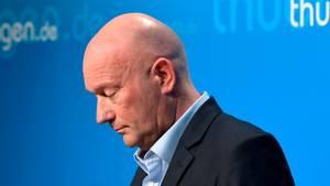 Thüringens Ministerpräsident Thomas Kemmerich am Donnerstagin der Staatskanzlei in Erfurt