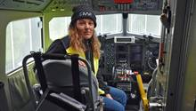 Cristina Sans im Cockpit