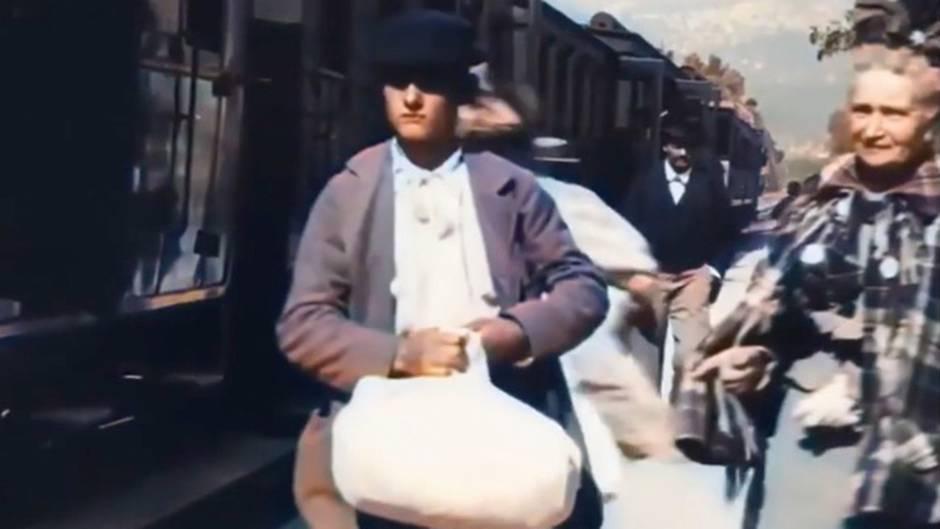 Frankreich im Jahr 1896: Unglaubliche Farbaufnahme zeigt das Tummeln am Bahnsteig vor 125 Jahren