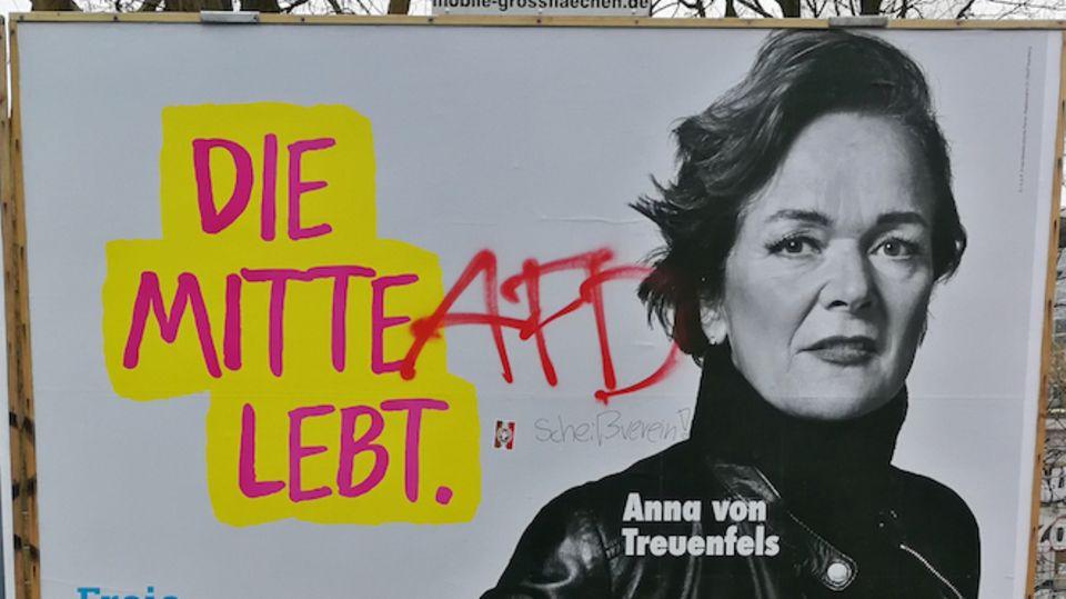 Wahlplakat der Hamburger FDP-Spitzenkandidatin Anna von Treuenfels