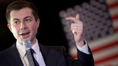 Pete Buttigieg spricht bei einem Wahlkampfauftritt in New Hampshire.