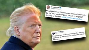 Virales Bild: US-Präsident Donald Trump hat eine starke Bräune und eine vom Wind durchwehte Frisur.