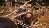 Düsseldorf, Nordrhein-Westfalen:Ein geparktes Auto ist von einem umgestürzten Baum bedeckt. In NRW kam es zu Ausfällen im Bahnverkehr, auch Flüge wurden gestrichen. Der Unterricht fiel an vielen Schulen aus.